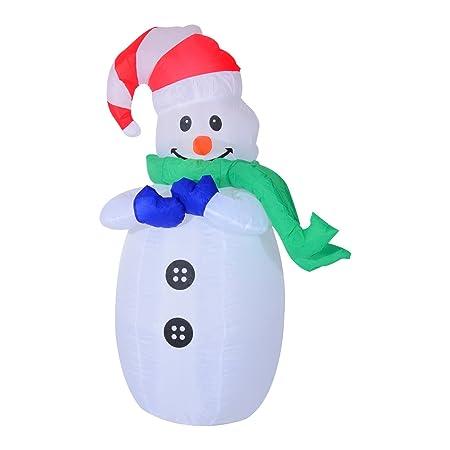 Muñeco de Nieve Inflable 55x45x120cm Luces Navidad LED ...