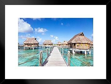 Amazon Com Poster Foundry Bora Bora Overwater Bungalows In