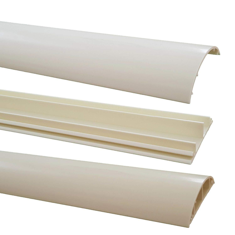 netproshop Fuß boden Kabelkanal PVC (Halbrund, Selbstklebend, 70x17mm) (1 Meter), Farbe:hellbraun meliert