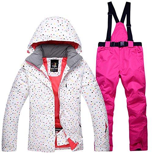(EDTara Ski Jacket and Pants Set for Woman Windproof Waterproof Warm Thermal Snow Snowboard Ski Suit Pink S )