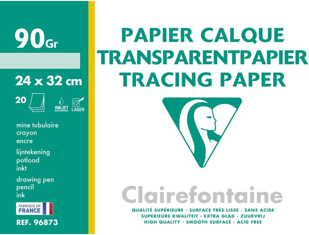 Clairefontaine Tracing Paper Roll 0.375 x 20 m 90//95 g