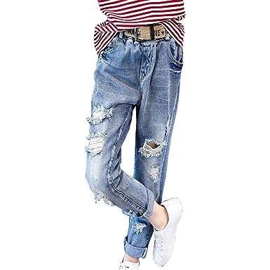 b1b60fb0a96c7 子供服 女の子 デニムパンツ 子ども服 キッズ用 韓国風 ダメージ ジーンズ 長ズボン ロング