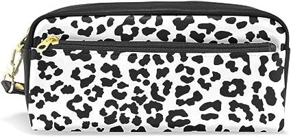 coosun negro y blanco leopardo patrón piel sintética portátil estuche escolar pluma bolsas papelería funda gran capacidad de maquillaje bolsa: Amazon.es: Oficina y papelería