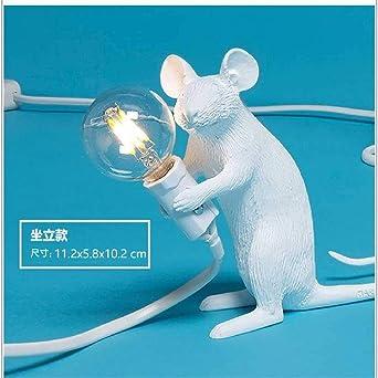 FENGZE Lámpara De Mesa Moderna Para Ratón De Resina LED E12 Mouse ...