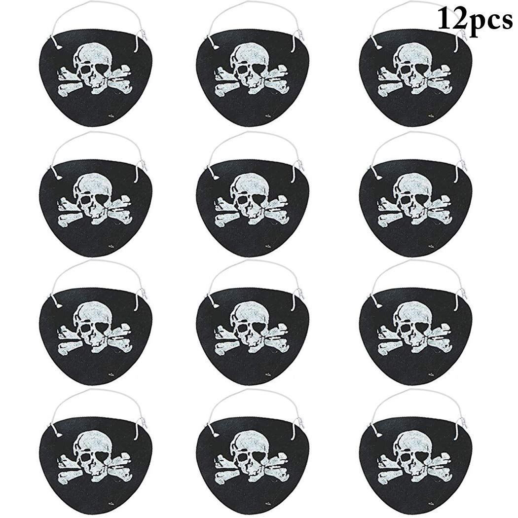 B bangcool Pirate Eye Patch for Halloween Novelty Skull Captain Eye Patches for Pirate Theme Party Costume Prop Pirate Prop for Kids(12PCS)