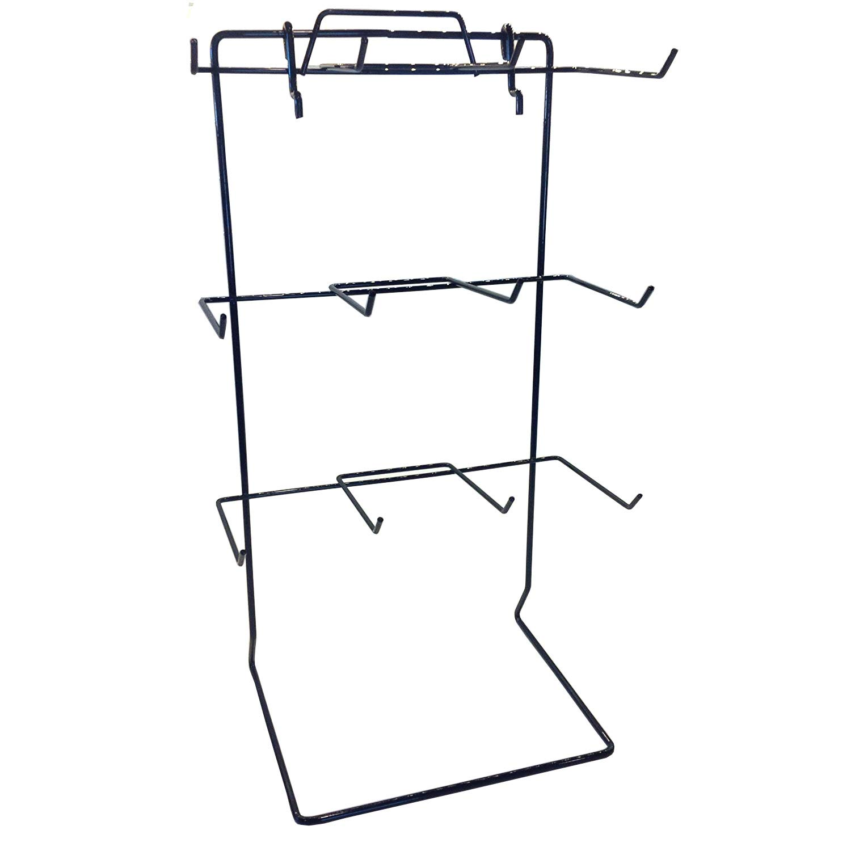 One 12 Single Peg Hook Counter Top Display Rack (Holds 3'' x 5'' Item) (Black)