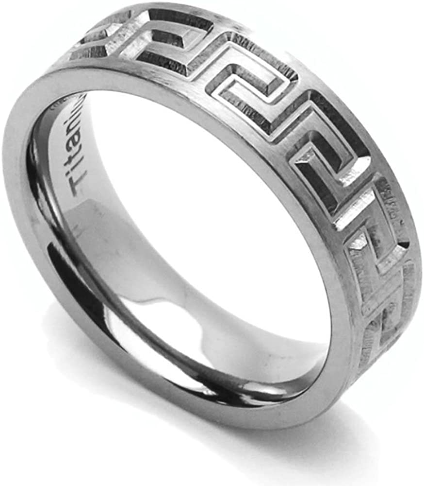 Double Accent 6MM Comfort Fit Titanium Wedding Band Greek Key Flat Ring (Size 6 to 14)