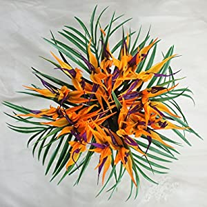 Lily Garden Latex Real Touch Bird of Paradise Flowers Wedding Bouquet (Orange with Fern) 62