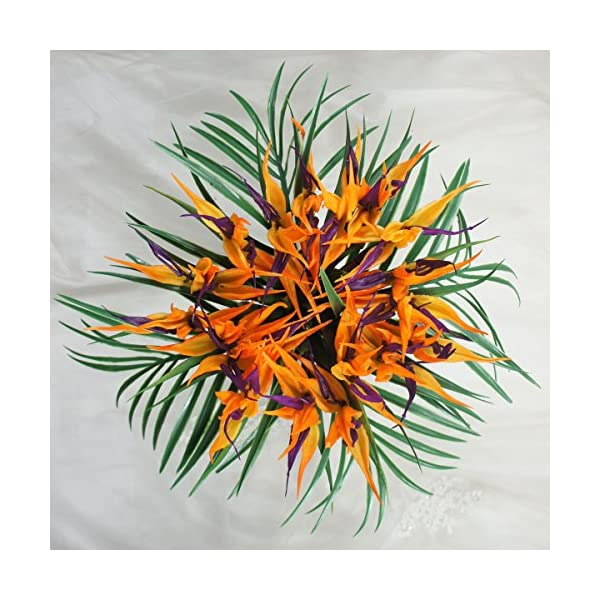 Lily Garden Latex Real Touch Bird of Paradise Flowers Wedding Bouquet (Orange with Fern)
