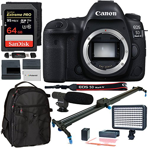 Canon EOS 5D Mark IV Digital SLR Camera ‑ Body Only, Polaroid 24-Inch Rail Track Slider, SanDisk 64GB Extreme Memory Card, Polaroid 160 LED Light, Microphone, and Accessory Bundle