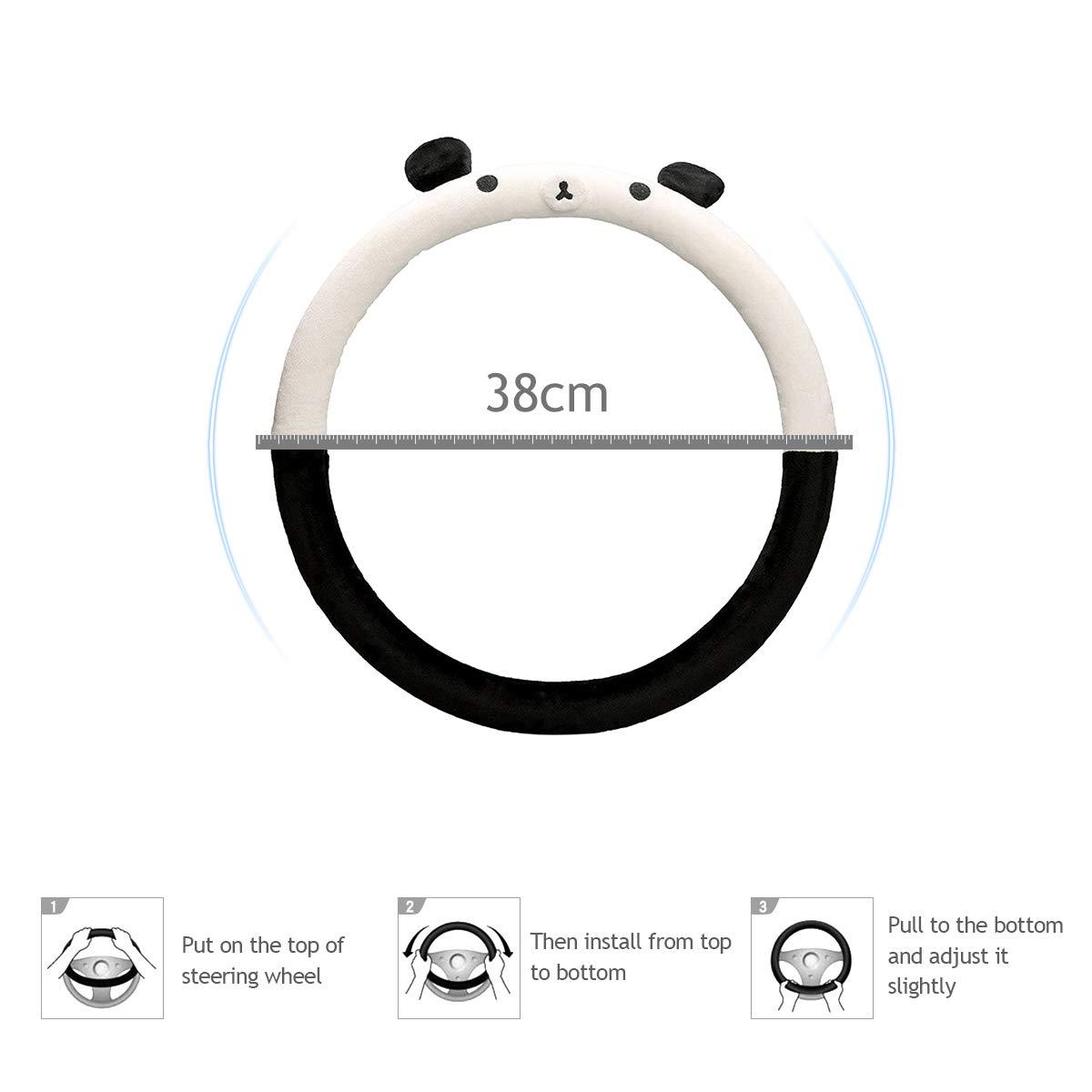 Ergocar Niedlicher Karikaturauto-Lenkrad-Abdeckungs Rutschfester Auto-Lenkradschutz 38cm 15 Panda Mikrofaser Weicher Flanell