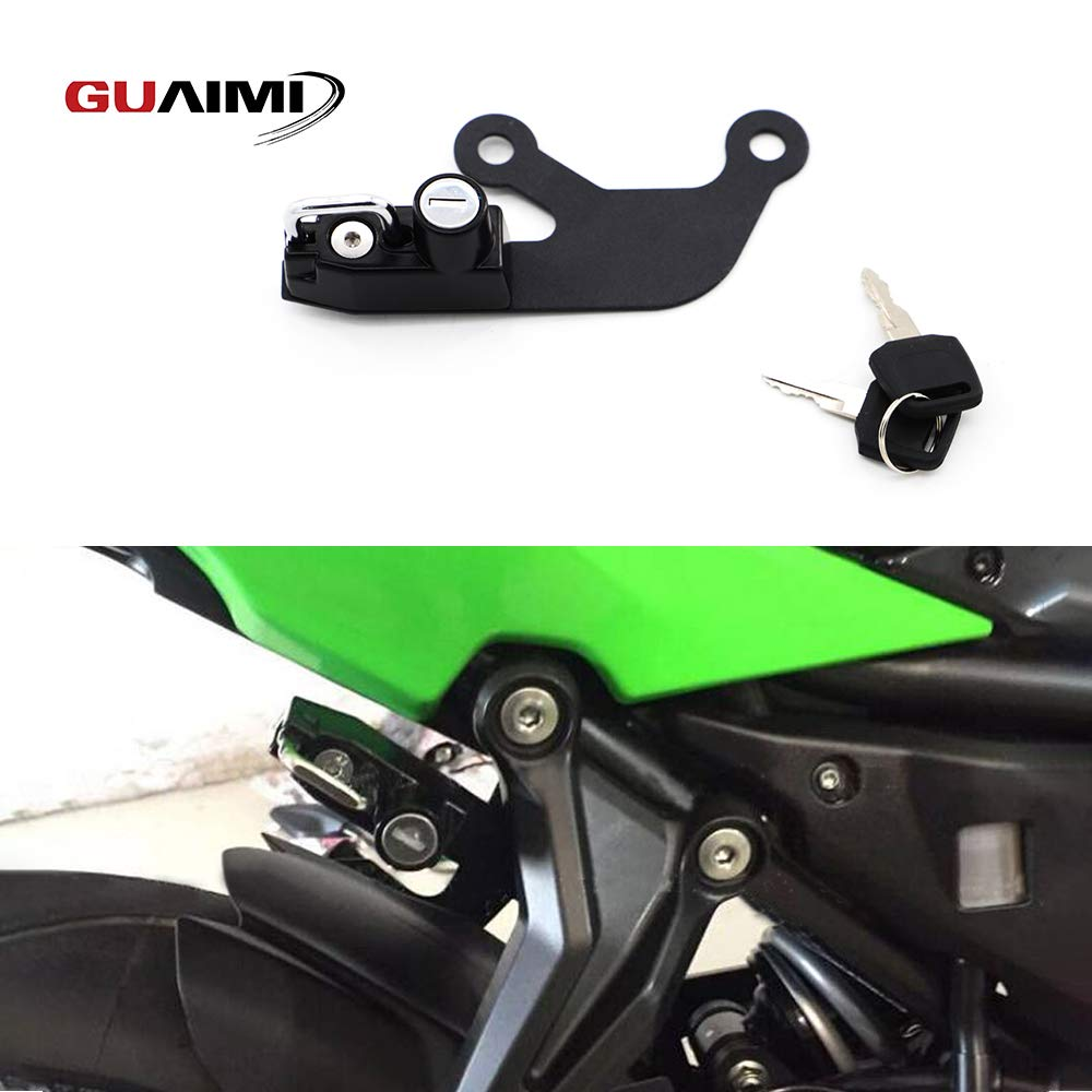 GUAIMI Motorcycle Anti-theft Helmet Lock with keys for Kawasaki Ninja 650 2017-2019 Kawasaki Z 650 2017-2019-Black