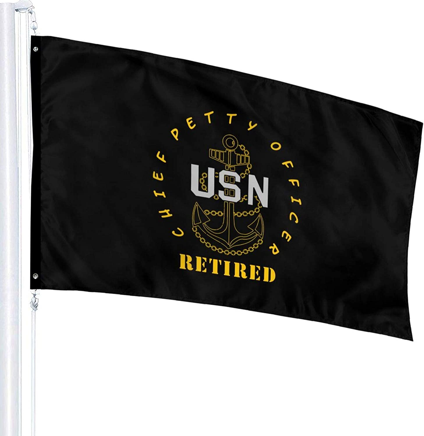Zordalating Us Navy - CPO Chief Petty Officer Retired 3x5 Foot Flag Outdoor Flags 100% Single-Layer Translucent Polyester 3x5 Ft