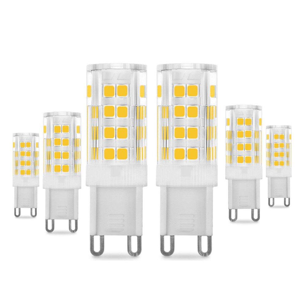 G9 LED Bulb - 5W/400LM, 40 Watt Halogen Bulbs Equivalent, Daylight White 6000K, Energy Saving G9 Bulbs, 360° Beam Angle, 220-240V, 6-Pack 360° Beam Angle PURSNIC