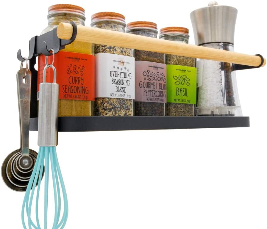 Darvish & Saints Magnetic Fridge Spice Rack Organizer [1-Tier with 2x Utility Hooks] - Mounted Jar Container Storage, Kitchen Roll Holder, Shelves, Pantry Wall, Laundry Room, Dorm, Garage. [Black]