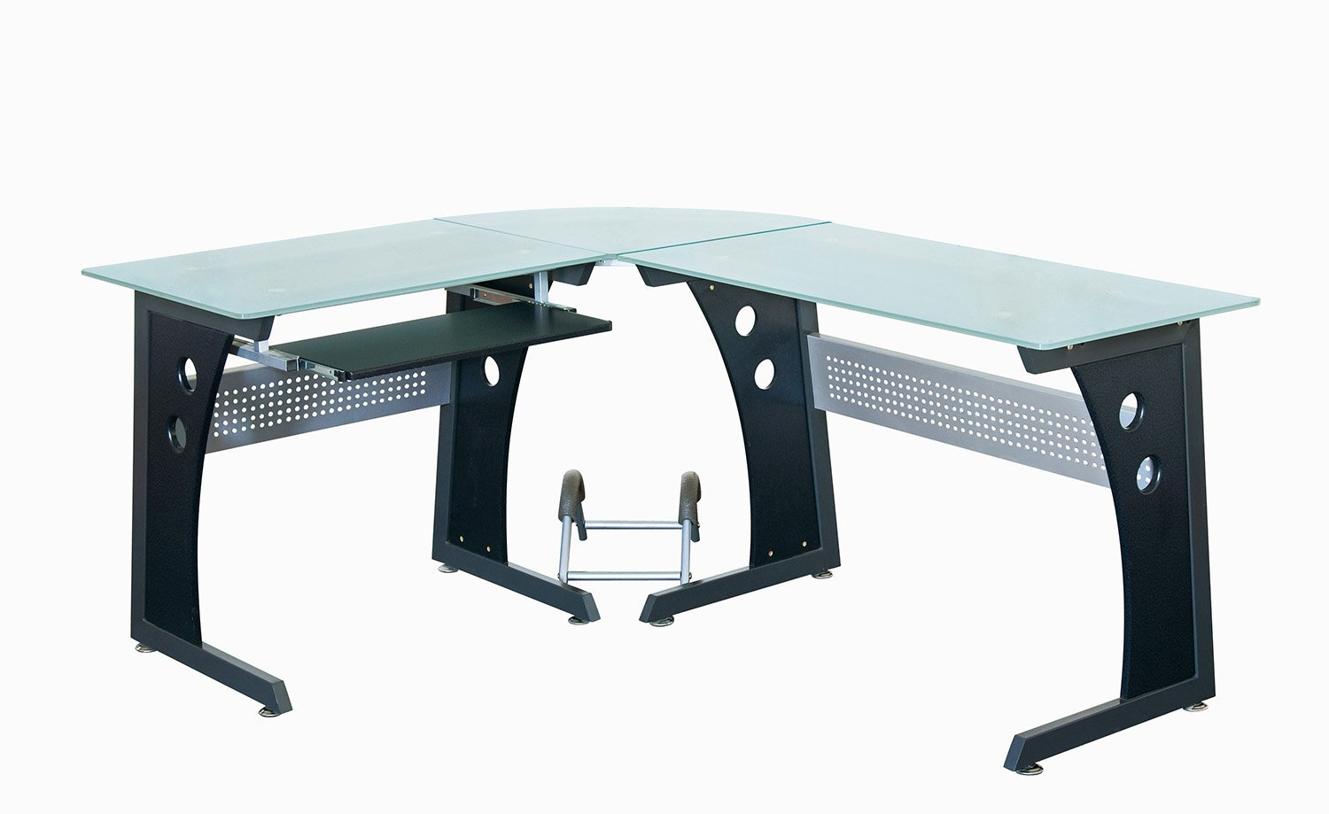 Amazon.com: Techni Mobili Deluxe Tempered Frosted Glass L Shaped ...