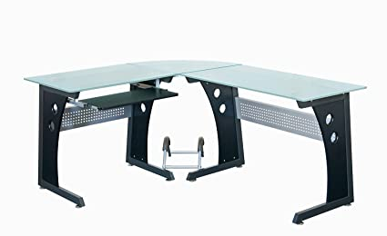 Amazoncom Techni Mobili Deluxe Tempered Frosted Glass L Shaped - Frosted glass conference room table