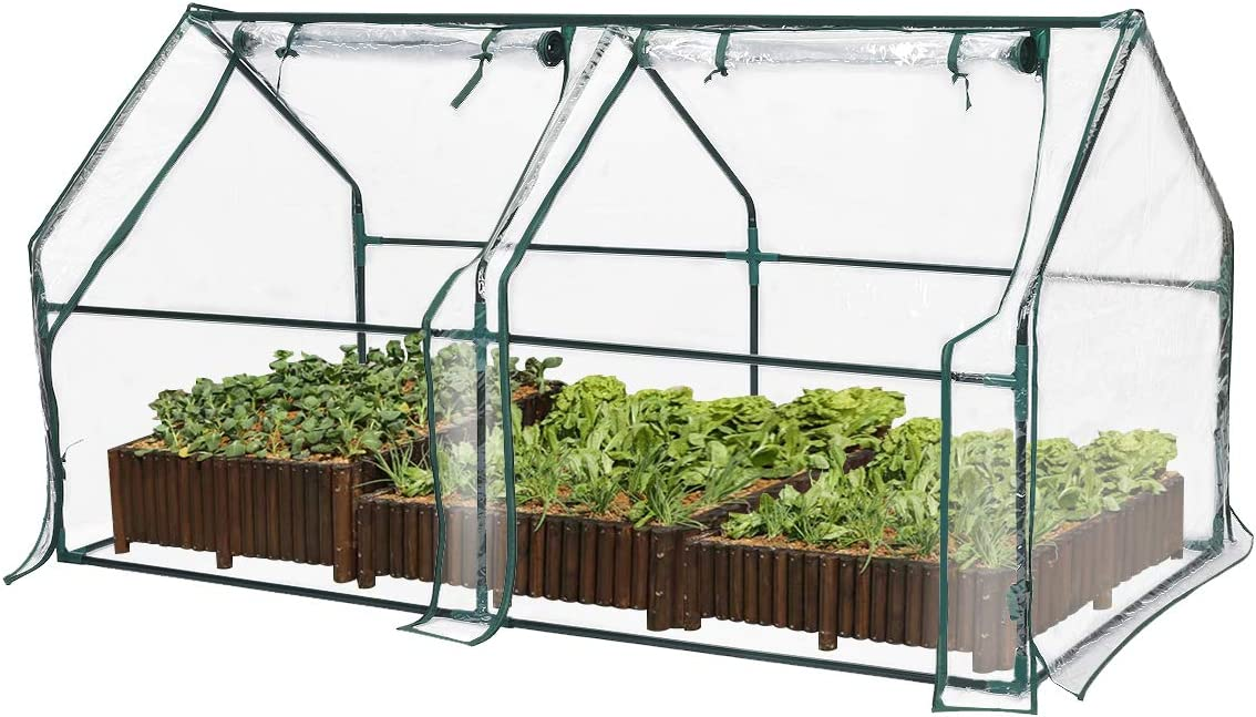 TOOCA Mini Greenhouse for Raised Garden Bed, 71 X36 X36 , Portable Plant Greenhouse for Indoor Outdoor Gardens Patios Backyards, Suitable for Growing Seeds, Young Plants Not Included Garden Bed