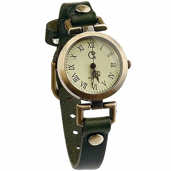 Reloj de pulsera Redondo Latón Joya reloj mujer Números romanos original Vasto Verde Regalo Mujer: Amazon.es: Relojes