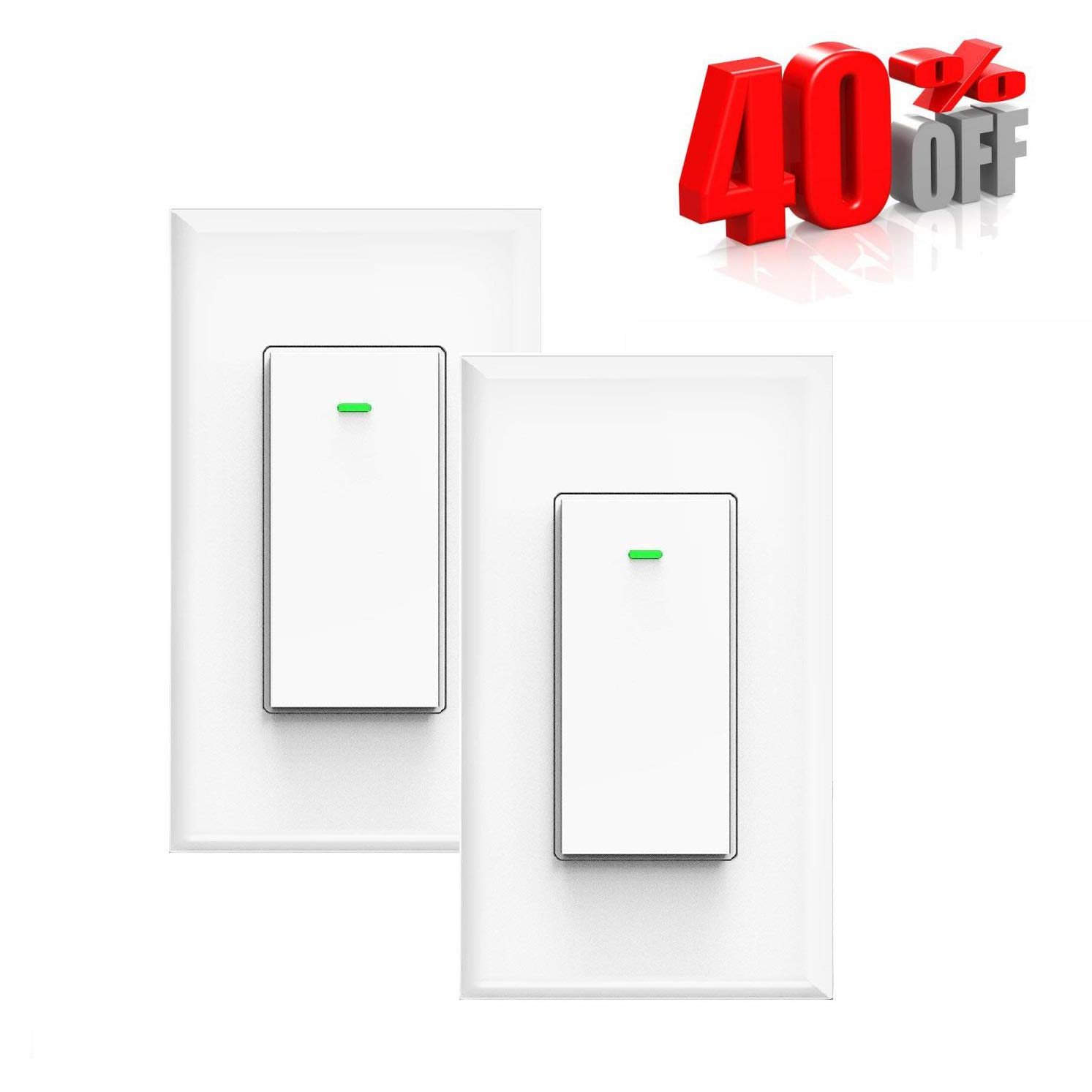 40% off Smart Wifi Light Switch,Wireless Remote Control, Neutral Wire Required,Overload Protection 15A No Hub Timing Function,Compatible with Amazon Alexa,Google Home, IFTTT,Physical Button (2 PACK)