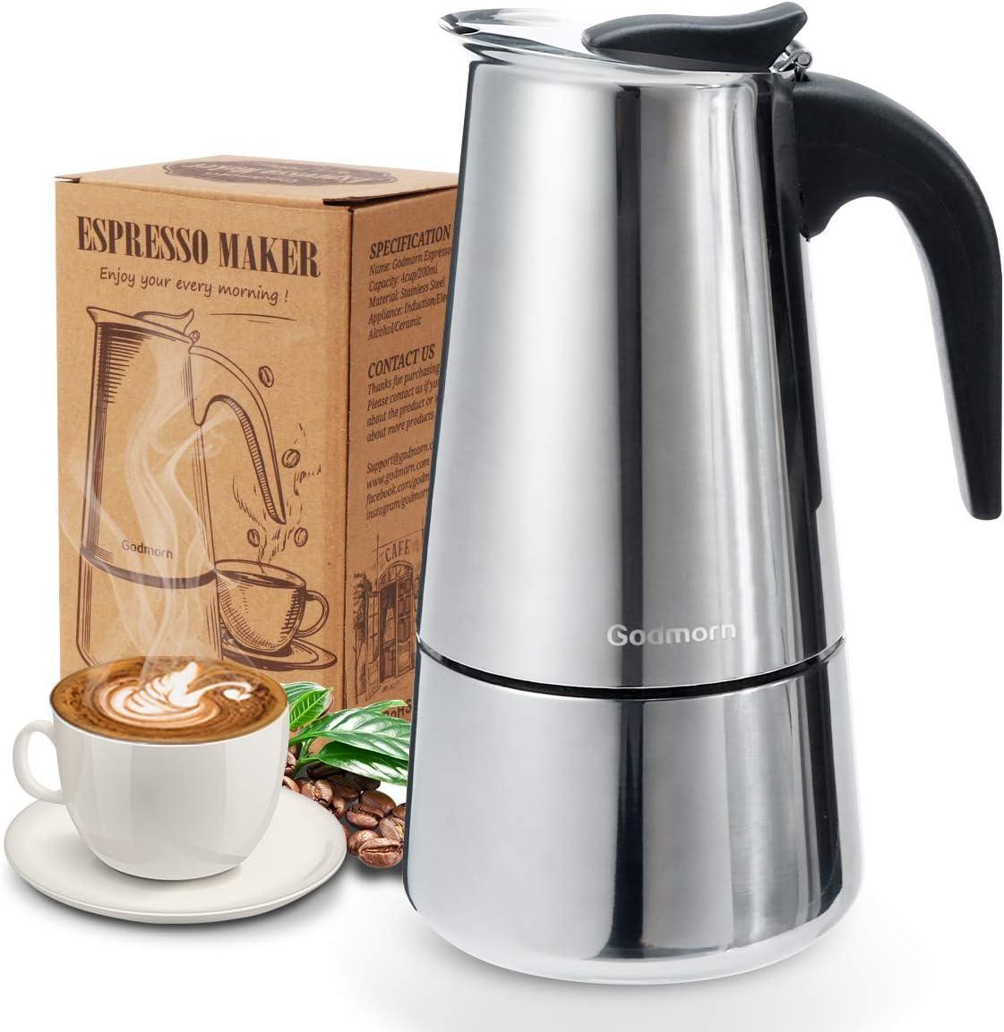 Godmorn Cafetera Italiana,Cafetera espressos en Acero inoxidable430,6 Tazas(300ml),Conveniente para la Cocina de inducción,Cafetera Moka Clásica,Plata, Uso Doméstico y en la Oficina.