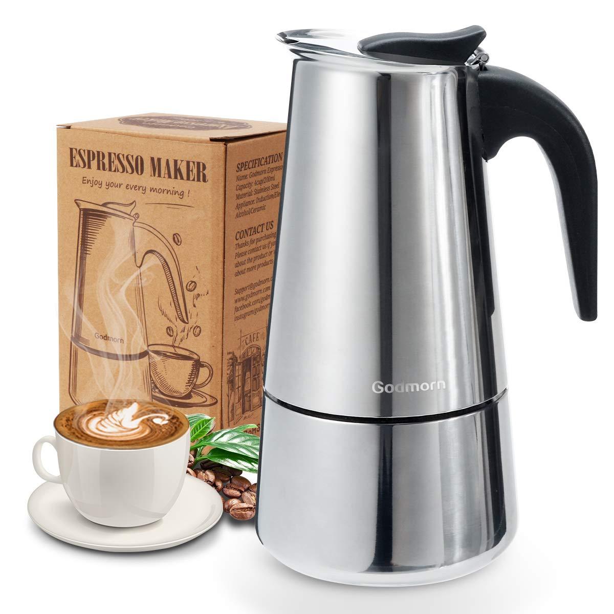Godmorn Cafetera italiana,Cafetera espressos en Acero inoxidable430,6 tazas(300ml),Conveniente para la cocina de inducción,Cafetera Moka ...