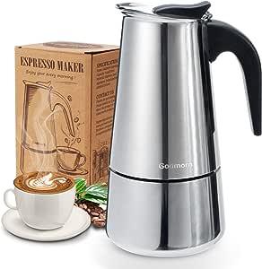 Godmorn Cafetera italiana,Cafetera espressos en Acero inoxidable430,6 tazas(300ml),Conveniente para la cocina de inducción,Cafetera Moka Clásica,Plata,Perfecta para Uso Doméstico y en la Oficina.