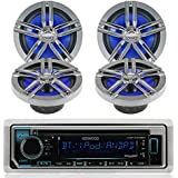 "New Kenwood Outdoor Marine Boat /Car ATV AM/FM Radio CD/MP3 USB iPod iPhone Pandora Stereo Player with 4 New 6.5"" Inch Charcoal Marine Speakers System - Great Marine Audio Package"