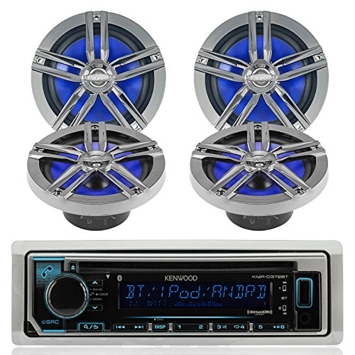 New Kenwood Outdoor Marine Boat  Car Atv Am Fm Radio Cd Mp3 Usb Ipod Iphone Pandora Stereo Player With 4 New 6 5  Inch Charcoal Marine Speakers System   Great Marine Audio Package
