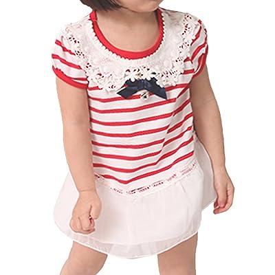 Scothen Fille enfants robe de soirée de mariage robe bébé fille rayures Tutu loisir coton T-shirt robe 1pc dentelle florale de fête d'enfants habiller les enfants de fête robe robe de fille de