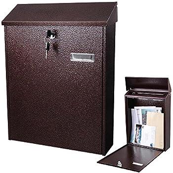 Yescom Large Wall Mount Steel Mail Box Lockable Letterbox W/ Retrieval Door  U0026 2 Keys