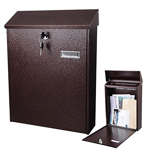 (Yescom Large Wall Mount Steel Mail Box Lockable Letterbox w/Retrieval Door & 2 Keys Home Post Security Outdoor)