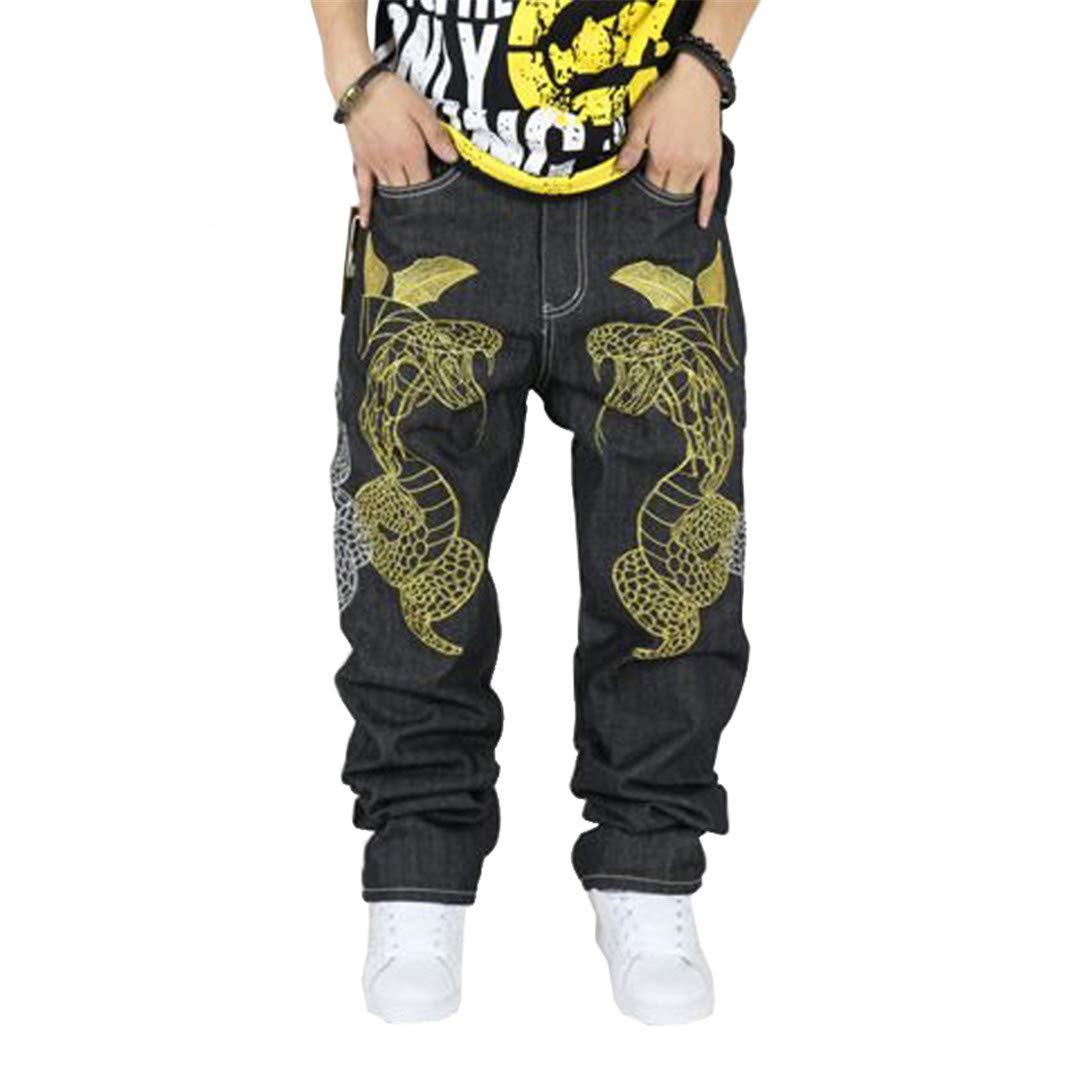 OKilr Lies Hip Hop Jeans Streetwear Male Plus Size Loose Denim Pants
