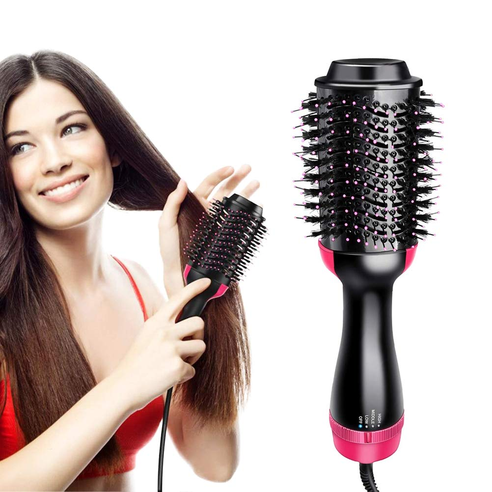 LOGYI Electric Hair Dryer Brush, with LED Indicator Anti-Scald Negative Ion Straightener,Hot Air Brush Blow Dryer for All Hair,EUPlug