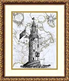 Framed Art Print 'Winstanley Eddystone Lighthouse' by Fab Funky