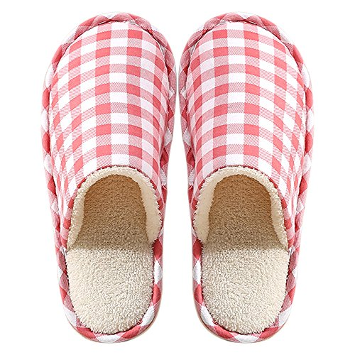 Hiver Maison Peluche Chaussures BOZEVON Pantoufles Hommes Chaussons amp; Rose Coton Confortable Chaud Femmes ZwWOOtqXg