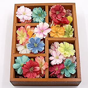 Artificial Flower Fake Flower Heads in Bulk Wholesale for Crafts Silk Plum Flower Head Wedding Home Decoration DIY Party Festival Decor Flower Wall Decoration Craft Gift 30pcs 4.5cm 24