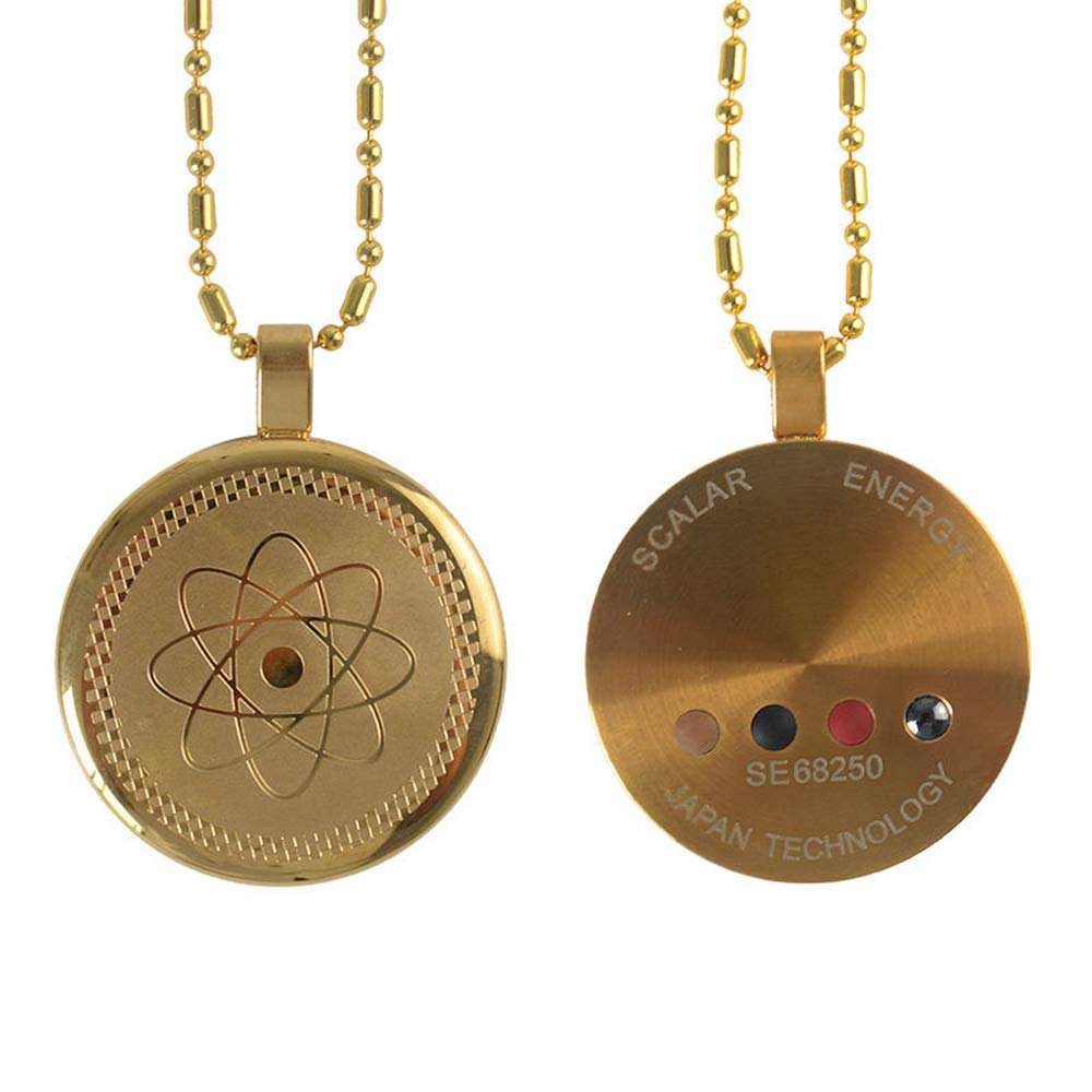 Tvoip Anti EMF Radiation Protection Pendant 2000+ Negative Ions Far Infrared Volcanic Lava Accessory (Gold)