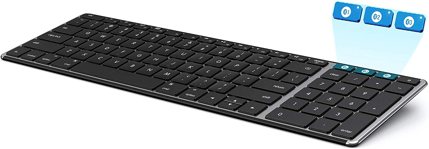 Seenda Bluetooth Keyboard for Mac OS, Multi-Device Slim Rechargeable Wireless Keyboard with Numeric Keypad, Compatible with Apple MacBook Pro/Air, iMac, iPad, Laptop, Space Gray