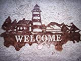 Lighthouse Welcome Scene Antique Copper