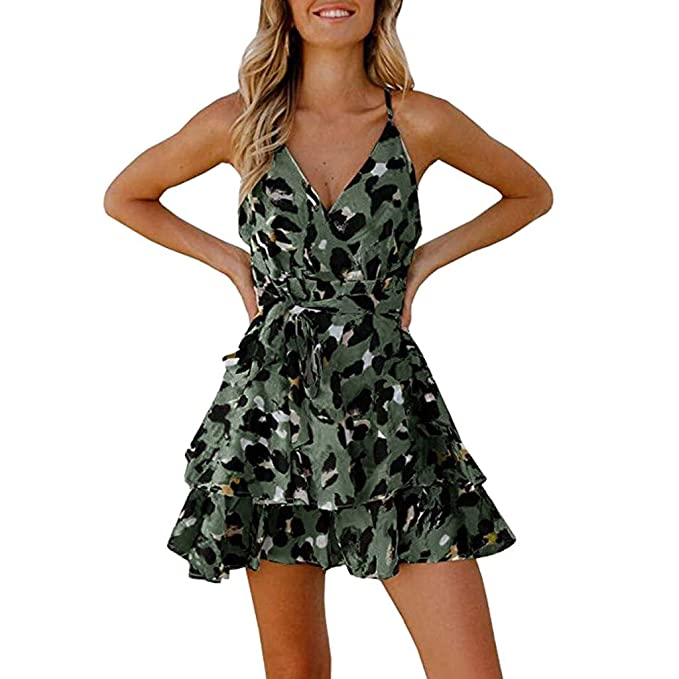 Sommer Frauen Leopard Kleid V-Ausschnitt Kurzarm Skater Party Minikleider