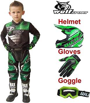3-4Yrs Children Kids Motorbike Race Suit XS /& Gloves L /& Goggles 7cm 53-54cm Leopard LEO-X15 Black Kids Motocross Helmet L