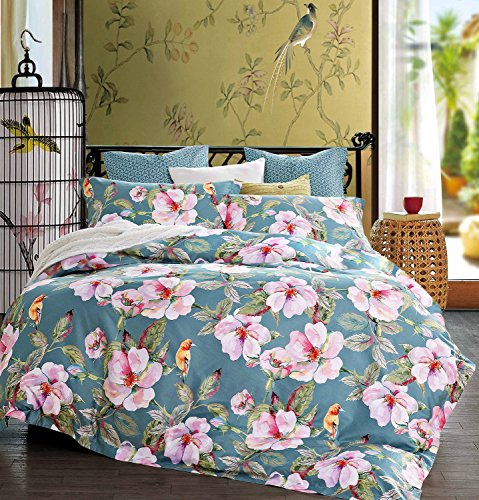 Exotic Modern Floral Print Bedding Birds Peacock Hummingbird Flowers Dusty Grey Design 100% Cotton Full Queen Duvet Cover 3pc Set Hibiscus Blossom Branches in Muted Gray Blue (Queen, Dusty Teal)