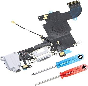 MMOBIEL Repuesto Conector Dock de Carga Compatible con iPhone 6S (Blanco), Incl. 2 X Destornilladores