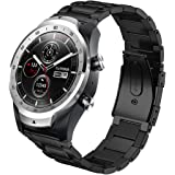 Aimtel Compatible Ticwatch Pro Band/Galaxy Watch (46mm),22mm Stainless Steel Metal Replacement Band Compatible Ticwatch Pro/Samsung Gear S3 Frontier / S3 Classic/Galaxy Watch 46mm(Black)