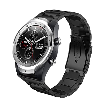 HATALKIN Compatible with Ticwatch pro Band, 22mm Width Stainless Steel Metal Replacement Bands Compatible with Ticwatch pro/Gear S3/Galaxy Watch ...