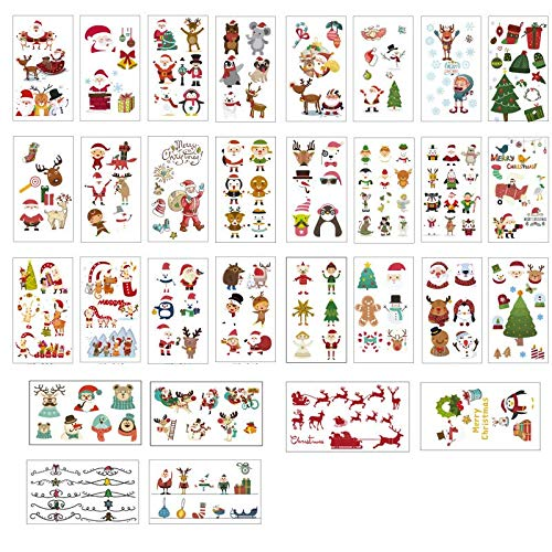 30PCS/Package New Christmas tattoo stickers Carnival party snowflake decoration gifts Waterproof sweat tattoo temporary stickers