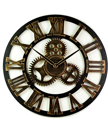 Shindn Vintage Clock European Retro Handmade 3D Decorative Gear Wooden Vintage Wall Clock (Roman Numerals