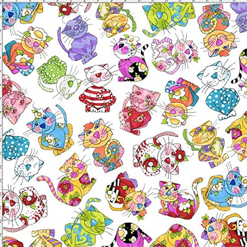 Cat Fabric - Loralie's Calico Cats - Cat Toss - White - 100% Cotton - By The Yard - Calico Quilt Shop