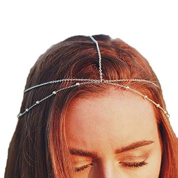 Women Fashion Multilayer Beads Head Chain Jewelry Headband Head Piece Hair Band